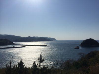 太陽が少しずつ海に落ちていく準備の素敵な風景~香住海岸